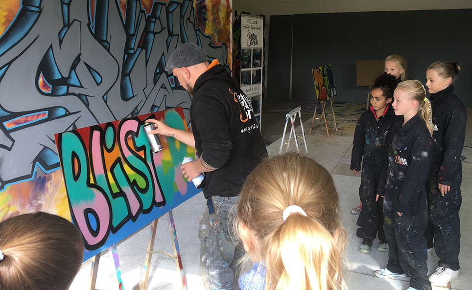 kinderfeestje graffiti workshop