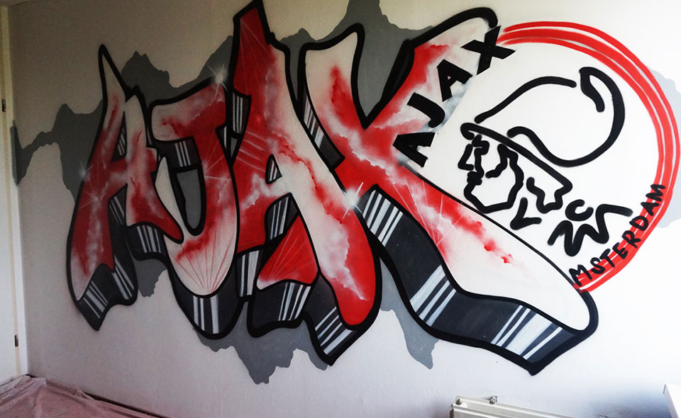 Rood Wit Graffiti Ajax Zwolle