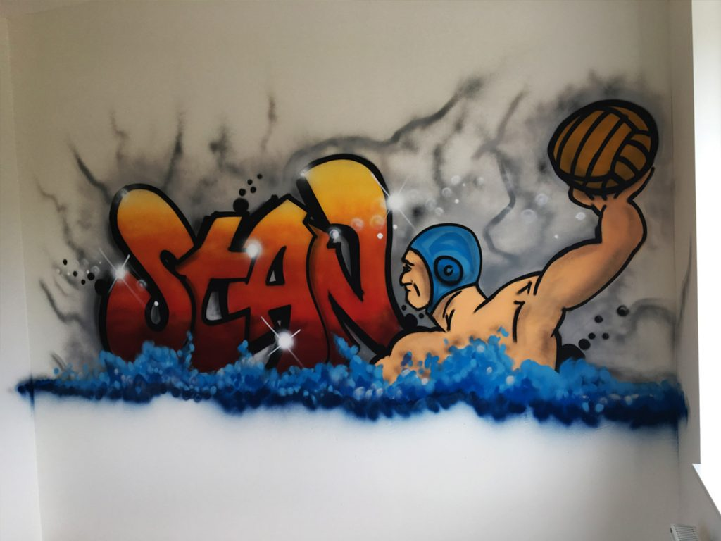 Stan waterpolo graffiti slaapkamer